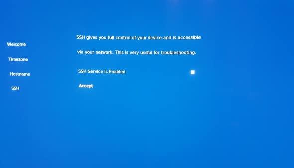 OSMC select ssh enabled