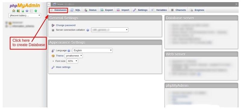 phpmyadmin database create 1